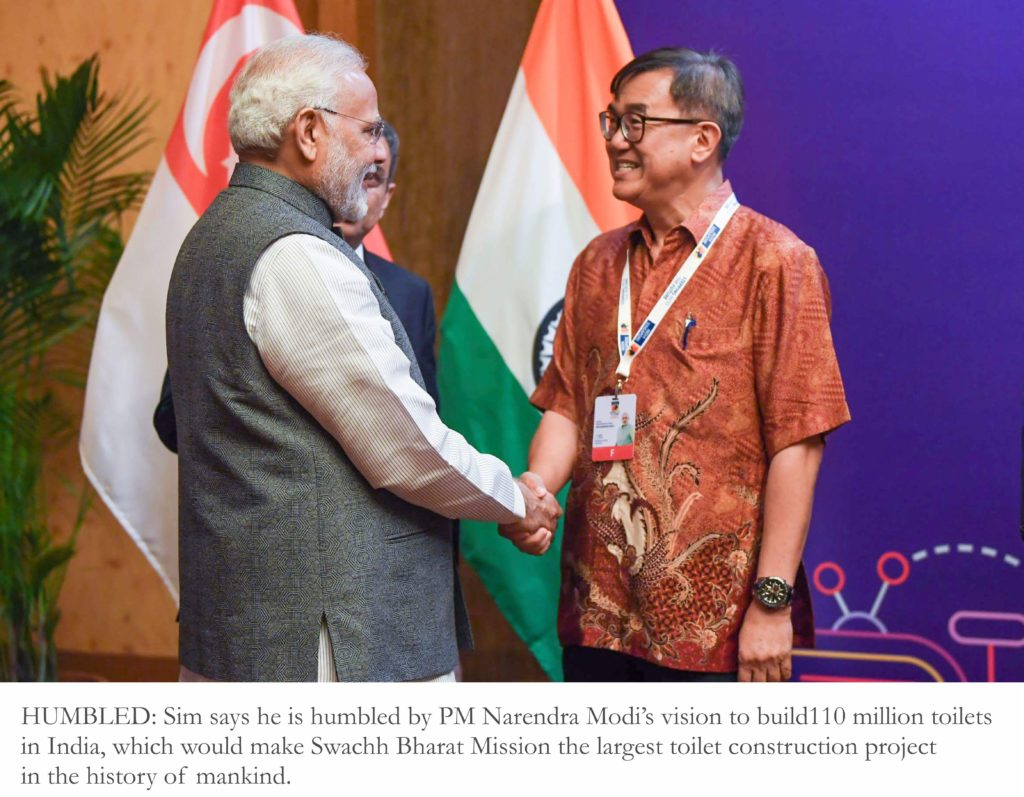 Jack Sim, founder WTO, with Narendra Modi, Prime Minister of India